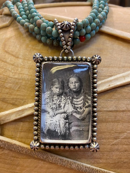 Photo Pendant with Five Strand Necklace