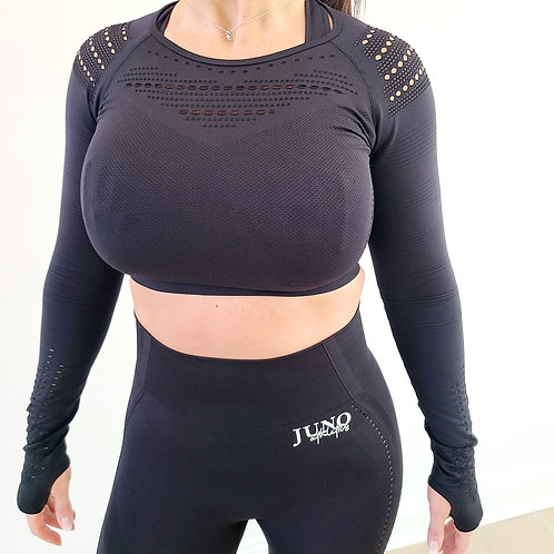 Juno Athletics Women's Laser Cut Crop Top