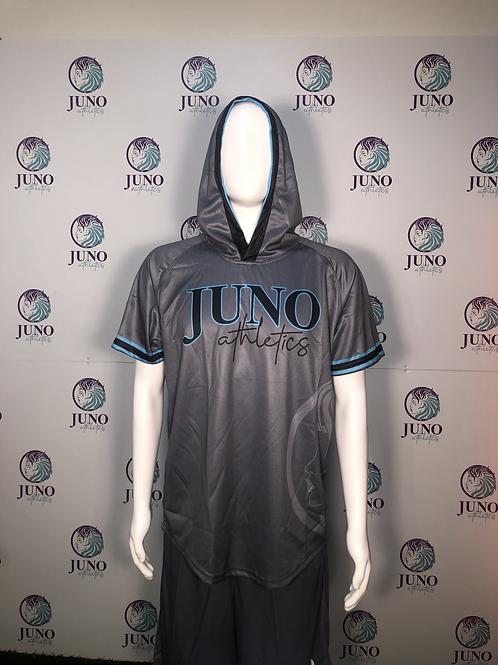 Juno Athletics Gray Short Sleeve Mesh Hoodie