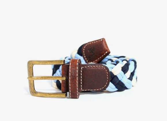 Blue and white woven belt