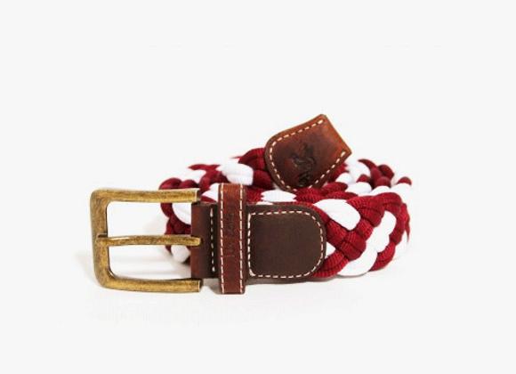 Burgandy woven designer belt