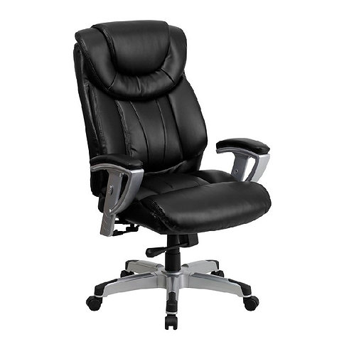 400 LB. CAPACITY BIG & TALL BLACK LEATHER OFFICE CHAIR