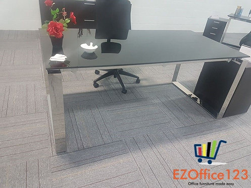 EZOFFICE123 MONACO EXECUTIVE GLASS DESK