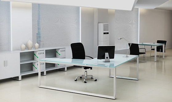 GLASS EXECUTIVE OFFICE DESK WITH RETURN