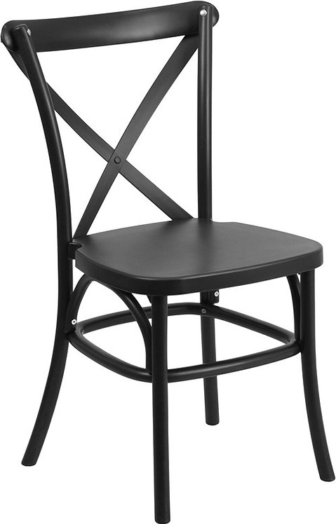 SERIES BLACK RESIN INDOOR-OUTDOOR CROSS BACK CHAIR