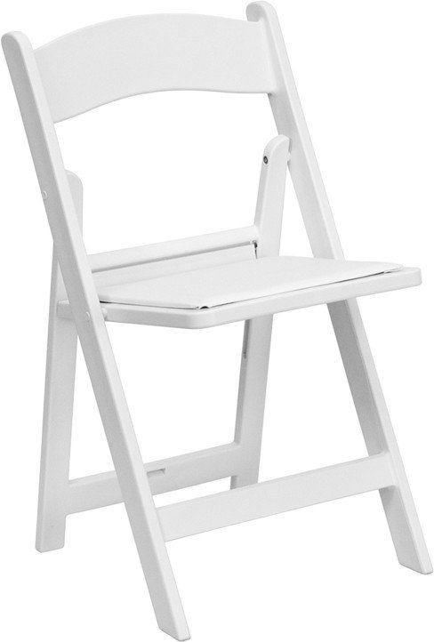 WHITE RESIN FOLDING CHAIR WITH VINYL SEAT