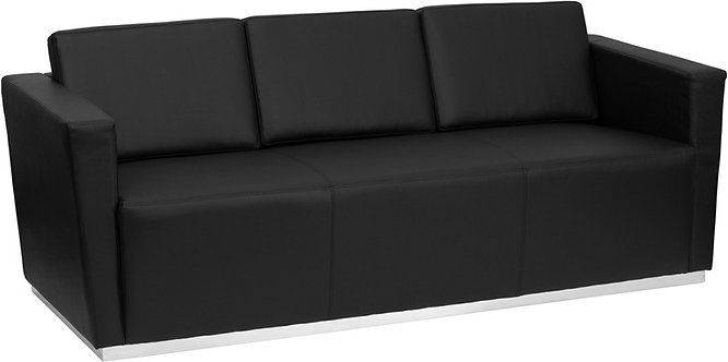 TRINITY SERIES CONTEMPORARY BLACK LEATHER SOFA WITH STAINLESS STEEL BASE