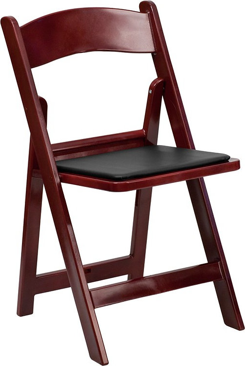RED MAHOGANY RESIN FOLDING CHAIR WITH BLACK VINYL PADDED SEAT