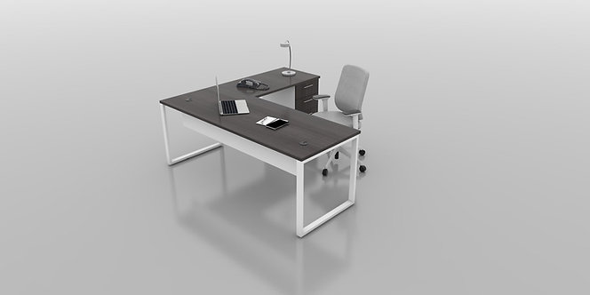 6 X 6 L-SHAPE O-LEG DESK WITH BBF