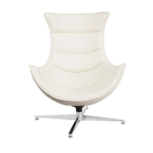 WHITE LEATHER COOCON CHAIR