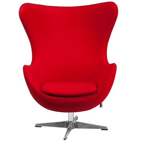 EZOFFICE RED WOOL FABRIC EGG CHAIR WITH TILT-LOCK MECHANISM