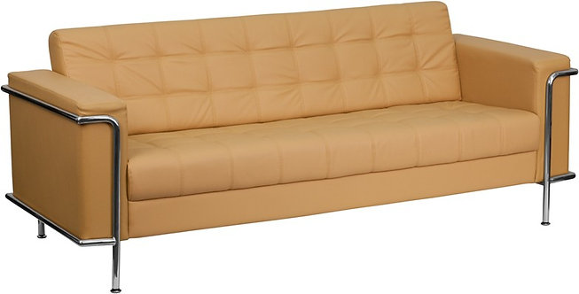 HERCULES LESLEY SERIES CONTEMPORARY LIGHT BROWN LEATHER SOFA WITH ENCASING FRAME