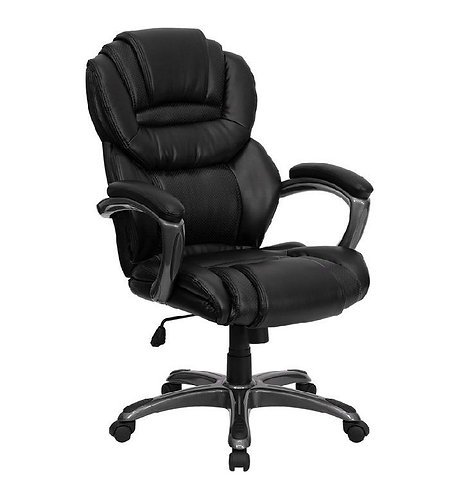 BLACK LEATHER EXECUTIVE SWIVEL OFFICE CHAIR