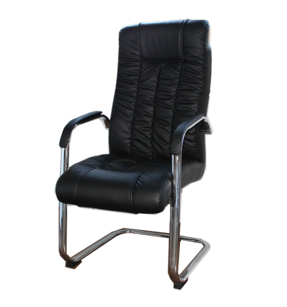 THE ECONOMICAL SERIES - BLACK LEATHER GUEST CHAIR