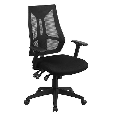 HIGH BACK BLACK MESH CHAIR WITH TRIPLE PADDLE CONTROL