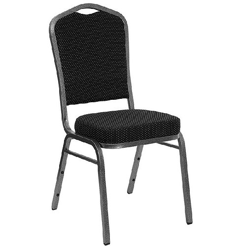 CROWN BACK STACKING BANQUET CHAIR WITH BLACK PATTERNED FABRIC