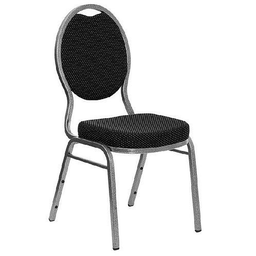 TEARDROP BACK STACKING BANQUET CHAIR WITH BLACK PATTERNED FABRIC