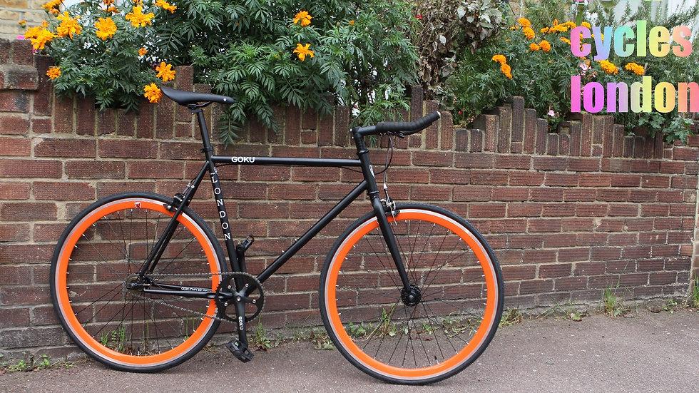 Goku Matt Black Single Speed Fixed Gear Matt Black with orange wheelset