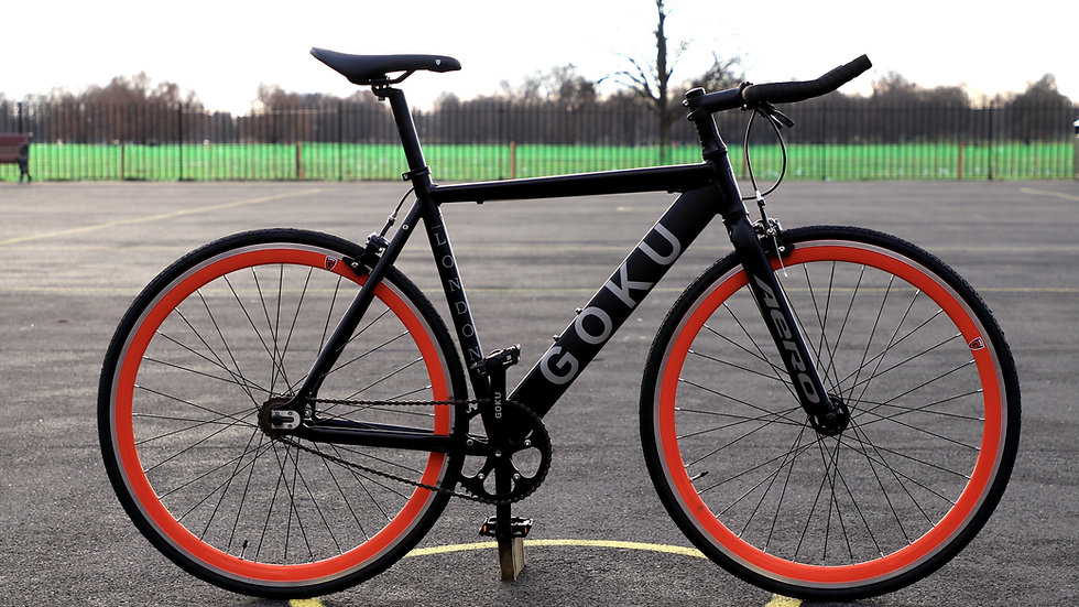Goku Alloy Matt Black single speed fixed gear black / orange