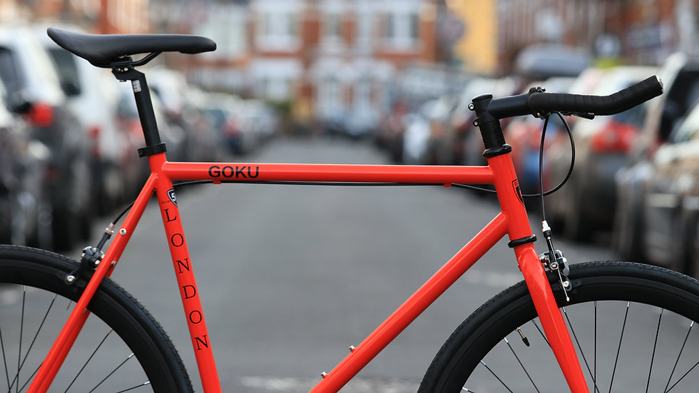 Goku Red Single Speed Fixed Gear with black wheel