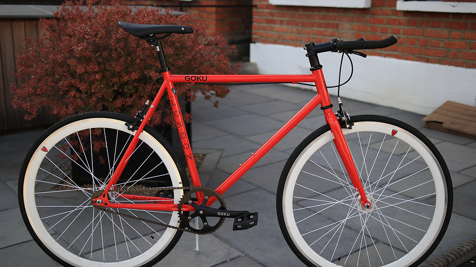 Goku Red Single Speed Fixed Gear with white wheel