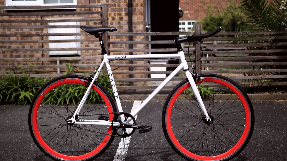 Goku White Single Speed Fixed Gear with red wheels
