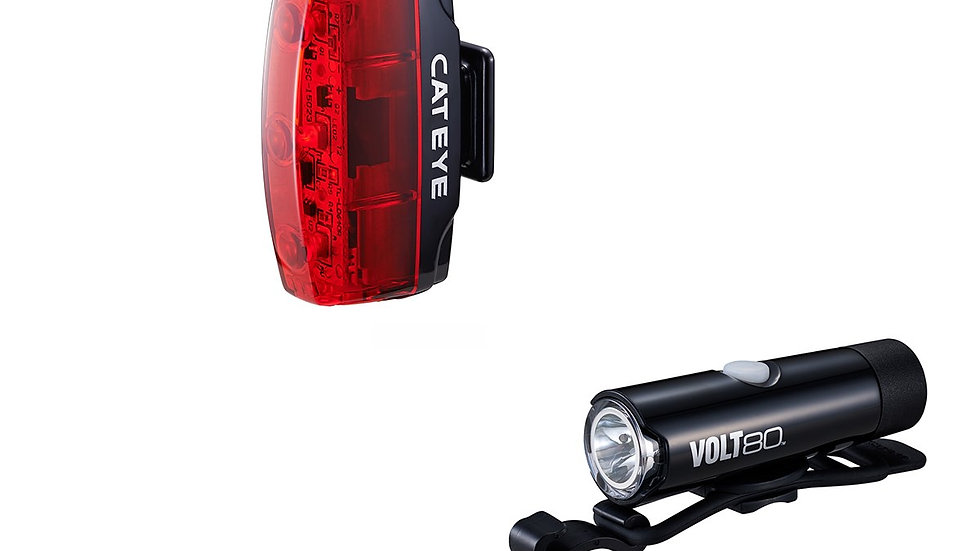 CATEYE VOLT 80 FRONT LIGHT & RAPID MICRO REAR LIGHT USB RECHARGEABLE LIGHT SET