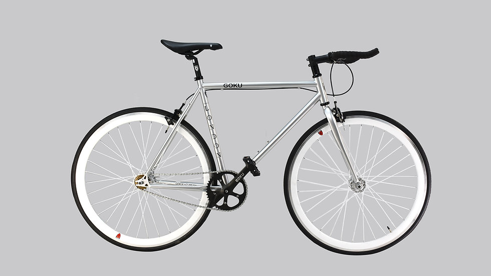 Goku Mach Silver Single Speed Fixed Gear with white wheel