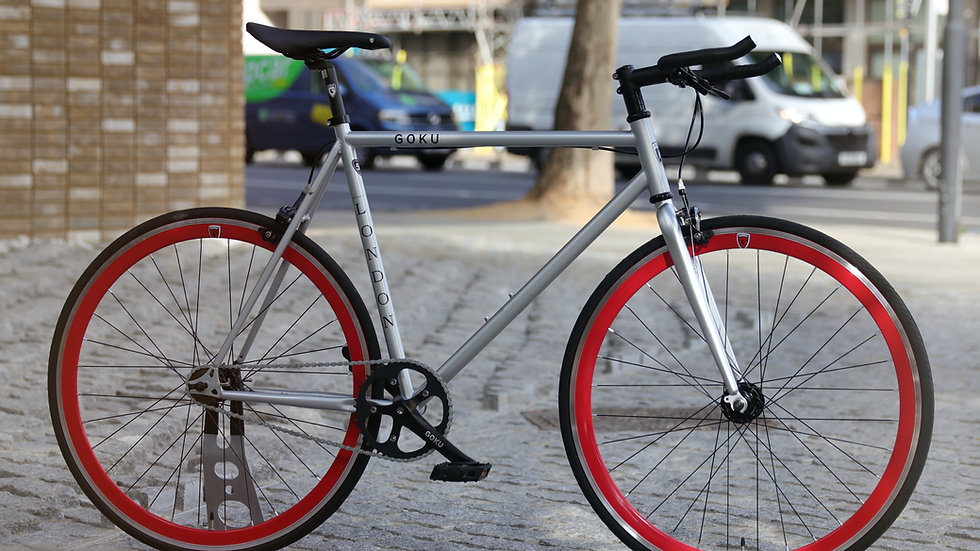 Goku Mach Silver Single Speed Fixed Gear with red wheel