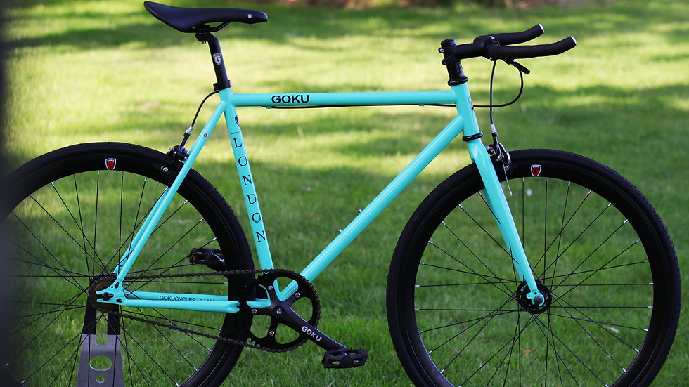 Goku Bianchi Green Single Speed Fixed Gear black wheels