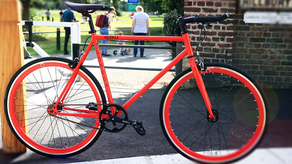 Goku Red Single Speed Fixed Gear with red wheel