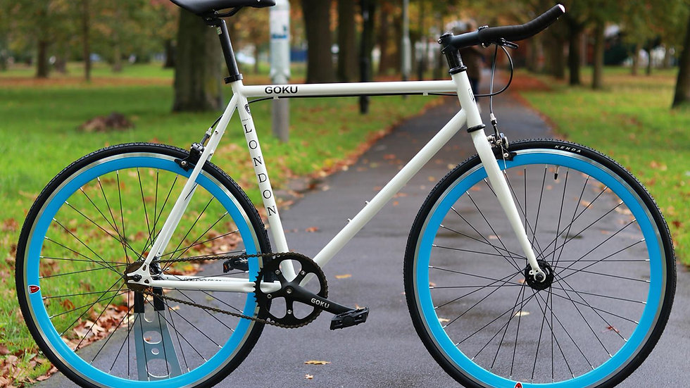 Goku White Single Speed Fixed Gear with blue wheels