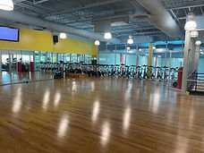 Group fitness studio with spin bikes at Echelon Health & Fitness in Voorhees, NJ