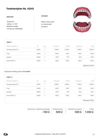 cloudent fogászati szoftver kezelési terv
