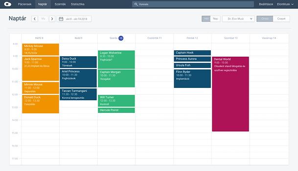 Cloudent fogászati szoftver naptár