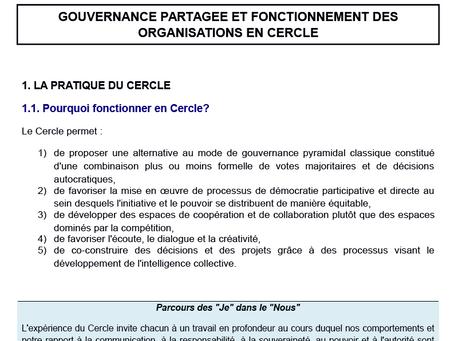 GOUVERNANCE PARTAGÉE ET FONCTIONNEMENT DES ORGANISATIONS EN CERCLE