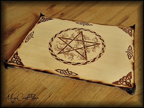 BIG PENTACLE altar base with celtic knots and branches