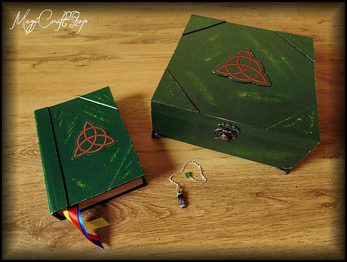 ORIGINAL CHAREMED BOX with original book of shadows, wooden box and pendulum