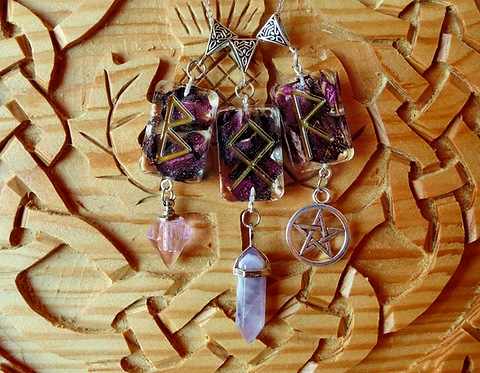 Rose petals resin runic pendant necklace