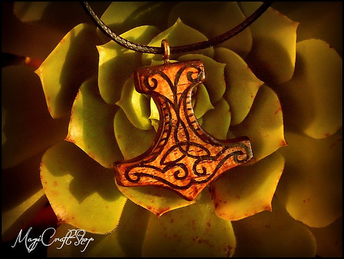 Thor hammer wooden necklace