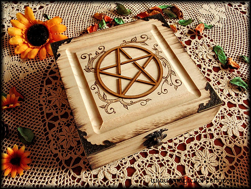 Wooden pentacle wicca box