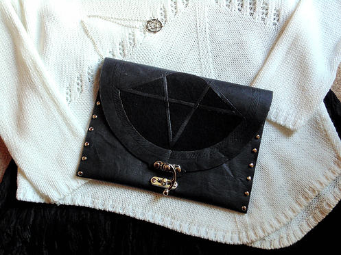 Wicca pentacle clutch for witches