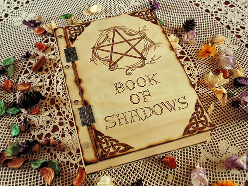 Wooden book of shadows with screws