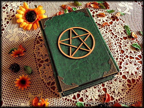 Wooden pentacle Book of Shadows with screws - A5 size