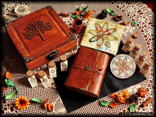 Wiccan altar kit with herbs, book of shadows, wheel of the year, meditation CD