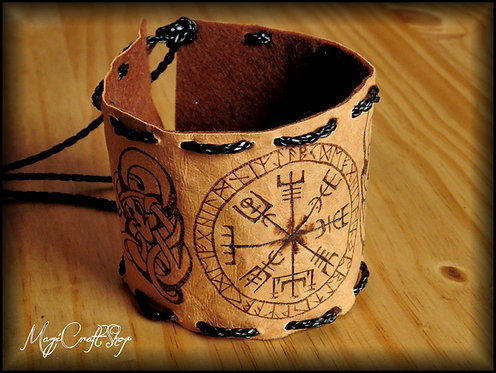 Norse Bracelet with Vegvisir symbol and norse decorations