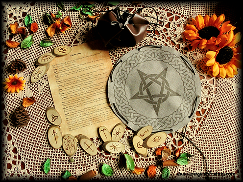 Set of WITCHES RUNES with divination bag and paper meaning