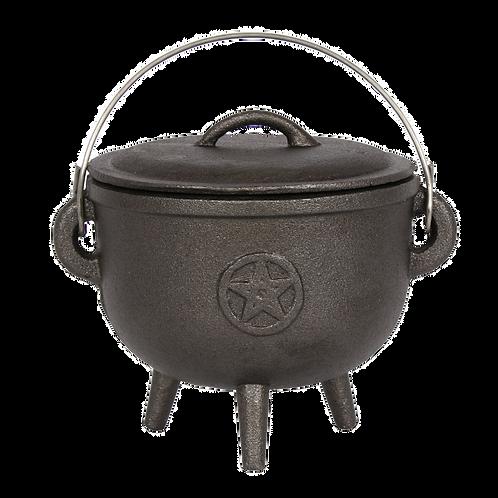 15cm Cast Iron Cauldron With Pentagram