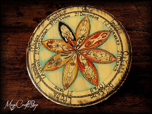 GODDESS Wheel of the year laminated on fir wood