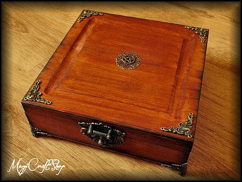 Medium ANCIENT WOODEN BOX with magical symbols - medium size 20x20x6 cm